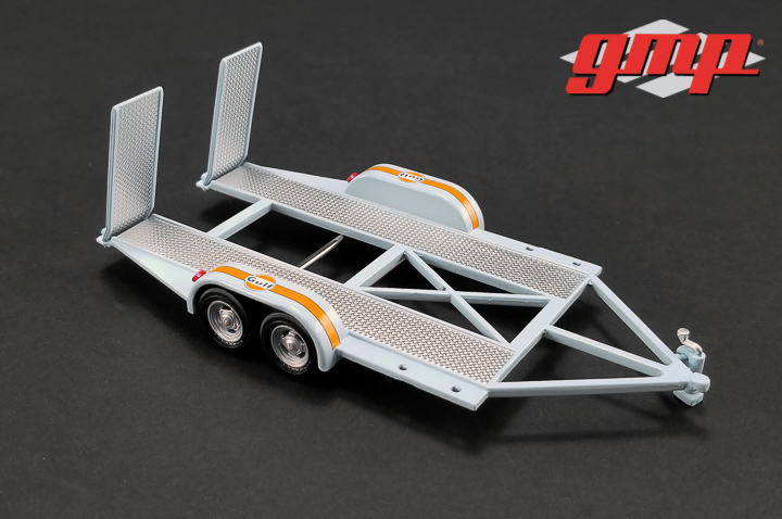 1:43 GMP Tandem Car Trailer with Tire Rack - Gulf Oil