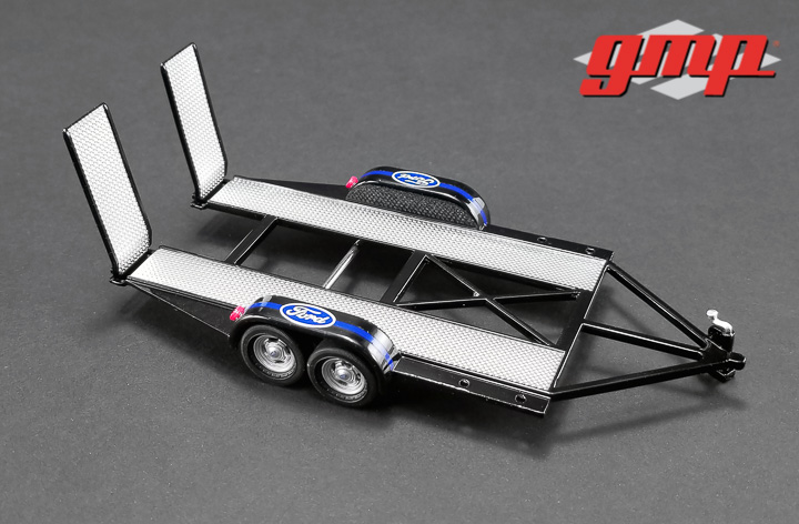 1:43 GMP Tandem Car Trailer with Tire Rack - Ford