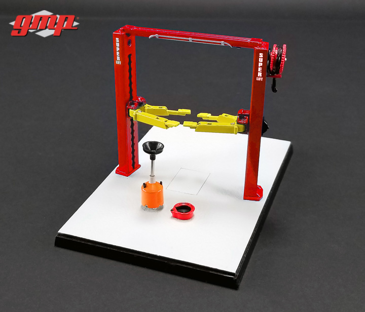 1:43 GMP Two Post Lift - Red and Yellow