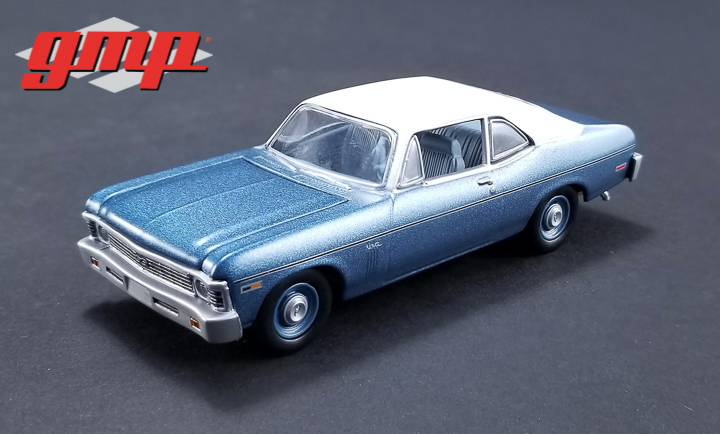 1:43 GMP Beverly Hills Cop (1984) - 1970 Chevrolet Nova - Blue with White Roof