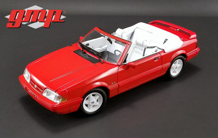 1:18 GMP 1992 Ford Mustang LX Convertible - Vibrant Red with White Interior - Ford Feature Edition