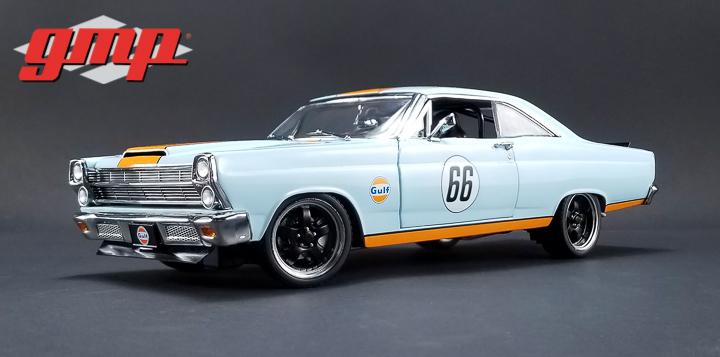 1:18 GMP 1966 Ford Fairlane Gulf Oil - Light Blue with Orange Stripes