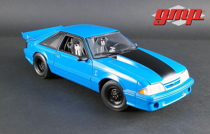 1:18 GMP 1320 Drag Kings 1993 Ford Mustang Cobra King Snake - Grabber Blue