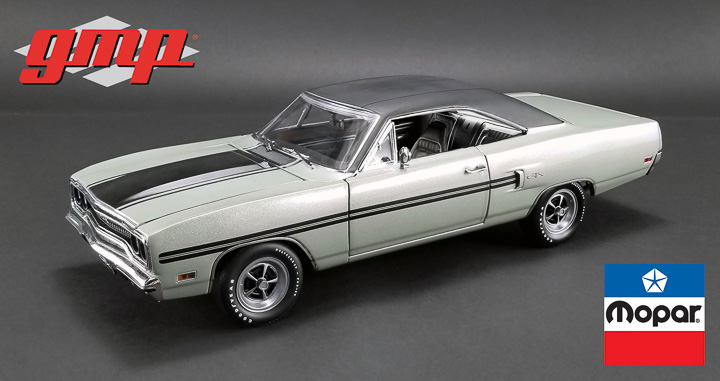 1:18 GMP 1970 Plymouth GTX - Silver Metallic with Black Vinyl Top