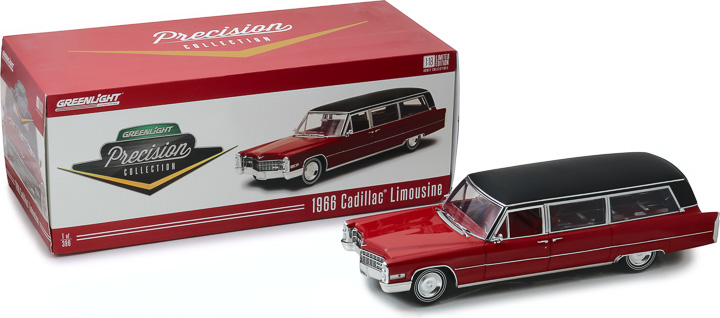 PC-18008 - 1:18 Precision Collection - 1:18 1966 Cadillac S&S Limousine - Red with Black Vinyl Roof