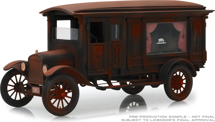 PC-18014  - 1:18 Precision Collection - 1:18 1921 Ford Model T Ornate Carved Hearse - Unrestored Barn Find